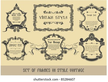 Set of frames in style the Vintage