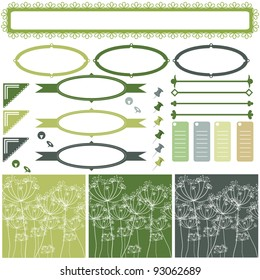 A set of frames and tags for scrapbooking