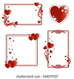 Set of frames for text or photo with red hearts. The horizontal and vertical rectangular, square shape. Vector concept for Valentine's Day