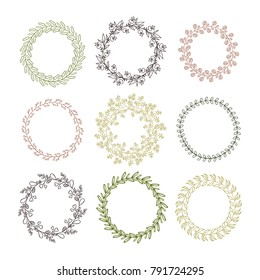Set of frameworks of wreaths on a white background. Vector.