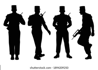 Set of France soldier with weapon silhouette vector, military man in the battle.