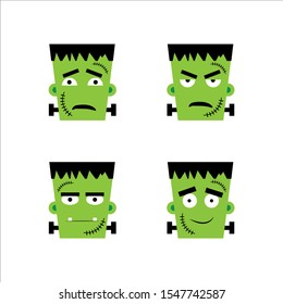 Set of frankenstein facial emotions.  Vector illustration in cartoon style. eps 10