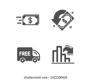 Set of Free delivery, Money transfer and Cashback icons. Decreasing graph sign. Shopping truck, Cash delivery, Receive money. Column chart.  Classic design free delivery icon. Flat design. Vector