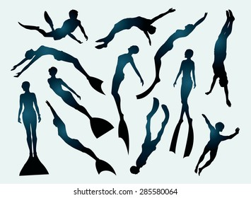 Set of free divers silhouette. Underwater sport.