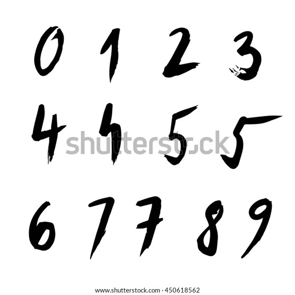 Set of free hand drawn numbers, calligraphy, brush strokes.