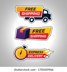 Set of Free shipping Badge Icon