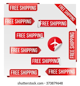 Set of Free Shipping Red Label Icon Design. Vector illustration Isolated on white background.