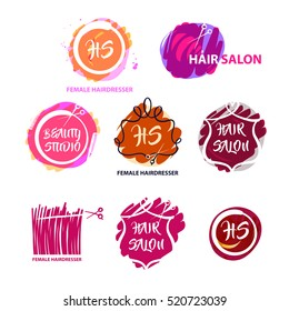 Set of freehand drawn color vector logo for beauty salon, parlor, studio, shop. Element corporate identity, banner, logotype isolated on white background. Colorful image with white and black contour.