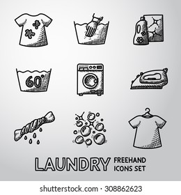 Set of freehand Laundry icons with - clean and dirty shirts, hand washing, washing mashine, iron, bleach, bubbles. Vector