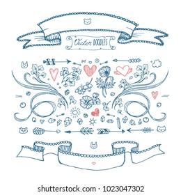 Set of freehand sketched doodles for decoration