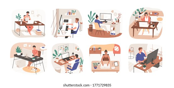 Set of freelance people working remotely vector flat illustration. Collection of man and woman use computer or laptop at comfortable workplace isolated on white. Self employed person at home office