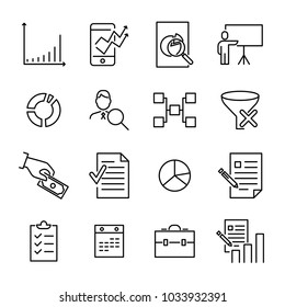 Set of freelance thin line icons. High quality pictograms of business. Modern outline style icons collection.