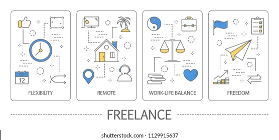 Set of freelance vertical banners. Advantages of freelance such as flexibility, remoteness, freedom, work-life balance. Isolated line vector illustration with icons