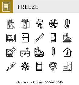 Set of freeze icons such as Chamber, Temperature, Freezer, Ice skate, Snowflake, Thermometer, Fridge, Ice skating, Cool, Refrigerator , freeze