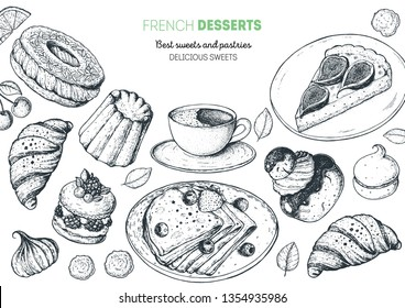 A set of french desserts with canele, Ispahan, crepes, chocolate religieuse, paris brest, fig tart. French cuisine top view frame. Food menu design template. Hand drawn sketch vector illustration