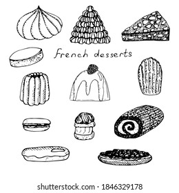Set of French desserts, vector illustration, meringue, croquembouche, grillage, calisson, blancmange, Madeleine cookies, macaroon, profiterole, Christmas log, eclair, tarte Tatin, hand drawing