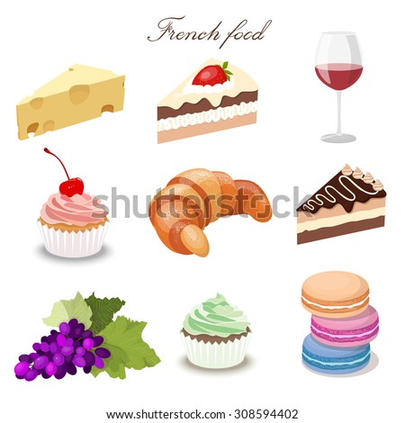 Set French Food Drink Croissant Red Stock Vector Royalty Free