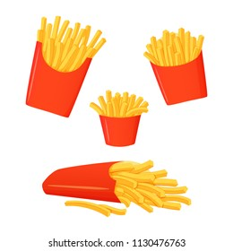 Set of french fries icons isolated on white background. Large, small and medium servings. Fast food. Big box of fries lying on a side.