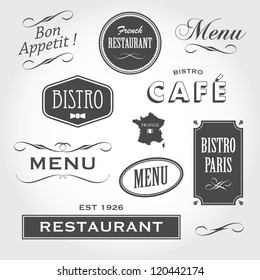 Set of french vintage ornaments, badges, banners, labels, signs bistro cafe restaurant, with french font type
