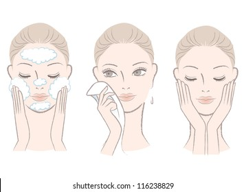 Set of fresh, beautiful woman in process of washing face. Wiping face with towel. Isolated on white.Hand-drawn like style.