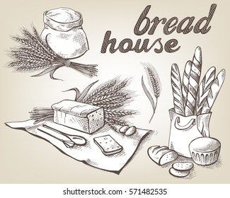 Set of fresh bread and sack with whole flour in graphic style