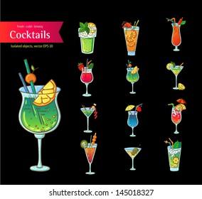 Set of fresh cocktails. Isolated object on black background. Cartoon style. Hand drawn illustration.