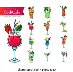 Set of fresh cocktails. Isolated object on white background. Cartoon style. Hand drawn illustration.
