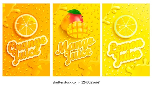 Set of fresh and cold lemon,mango,orange juices with drops from condensation on background, splashing and fruit slices for brand,logo and template,label,emblems,stores,packaging,advertising.Vector