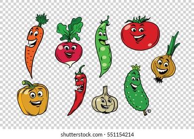 Set of fresh cute vegetable characters