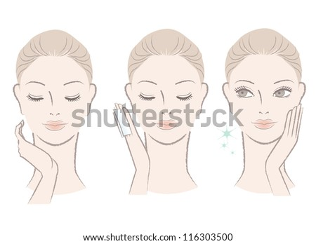 Set of fresh cute woman portrait. Applying facial lotion, touching her face. Moisturizing. Isolated on white.