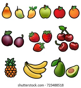 Set of fresh Fruits ,illustration isolated on white background included Clipping Path