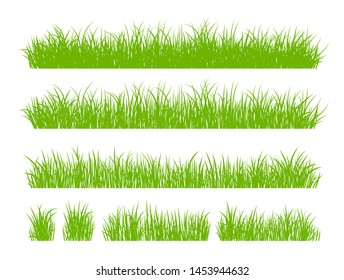 Set of Fresh Green Grass Isolated on White Background. Fresh herb: natural, organic, bio, eco label and shape. Vector illustration.