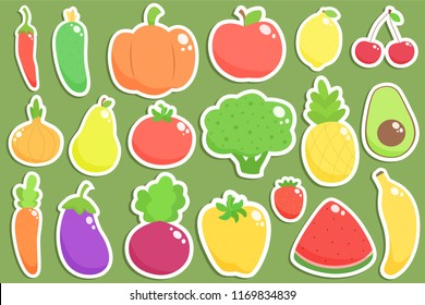 Set of fresh healthy vegetables, fruits and berries stickers isolated. Healthy lifestyle vector design elements.