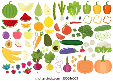 Set of fresh healthy vegetables, fruits and berries isolated. Slices of fruits and vegetables. Flat design. Organic farm illustration. Healthy lifestyle vector design elements.