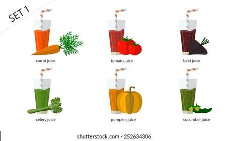 A set of fresh isolated vegetable juices: carrot juice, cucumber juice, tomato juice, pumpkin, beet, celery juice. 6 cups of juice.