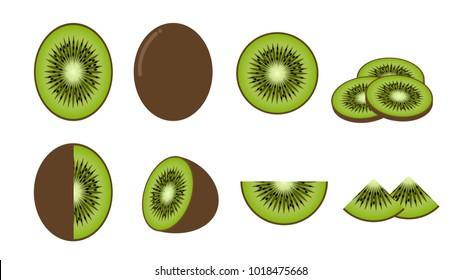 Set of fresh kiwi fruit isolated on white background - Vector illustration