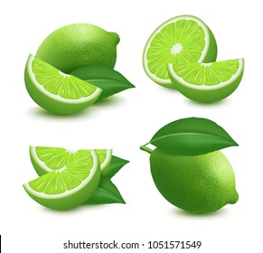 Set of fresh lime. 3d realistic vector image