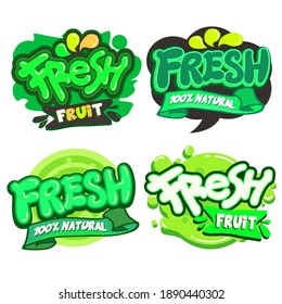 Set of Fresh logo,Vector illustration.  Applicable for covers ,sticker, products.