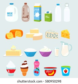 Set of fresh natural dairy products. Flat icons in cartoon style isolation on a light background.