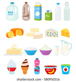 Set of fresh natural dairy products. Flat icons in cartoon style isolation on a white background.
