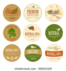 Set of Fresh Organic Label and Element. Nature label.