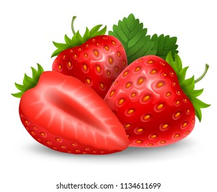 Set of fresh ripe strawberry. Whole clean and glossy berries with leaves and slice. Vector realistic illustration. Isolated on white background.