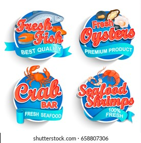 Set of fresh seafood logo and emblems. Fresh fish, oysters, shrimps and crab bar. Vector illustration. For markets, shops and your design.