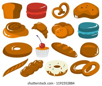 Set of fresh tasty bakery products. Bread, cookies, baguette and other baked goods. Isolated vector illustration in cartoon style