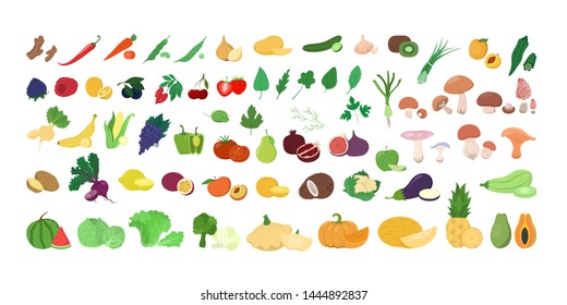 Set of fresh tasty fruits and vegetables. Delicious apple and banana, carrot and pepper. Healthy food. Isolated vector illustration in cartoon style