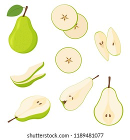 Set of fresh whole and cut pear and slices isolated on white background.