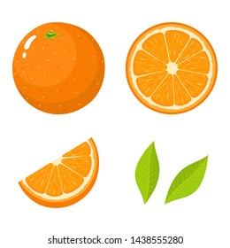 Set of fresh whole, half, cut slice and leaves orange fruit isolated on white background. Tangerine. Organic fruit. Cartoon style. Vector illustration for any design.