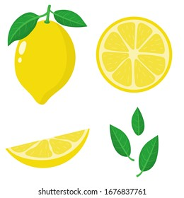 Set of fresh whole, half, cut slice and leaves lemon fruit isolated on white background. Summer fruits for healthy lifestyle. Organic fruit. Cartoon style. Vector illustration for any design.