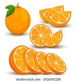 Set of fresh whole, half, cut slice orange fruit isolated on white background. Tangerine. Organic fruit. Flat style. Vector illustration for any design.