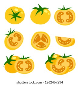 Set of fresh yellow tomatoes vector illustrations. Half a tomato, a slice of tomato.